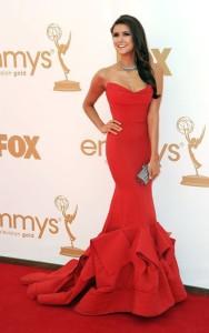 Nina-Dobrev-Red-Dresses-On-Emmys-2015-Red-Carpet-Strapless-Mermaid-Evening-Gown-Celebrity-Dresses
